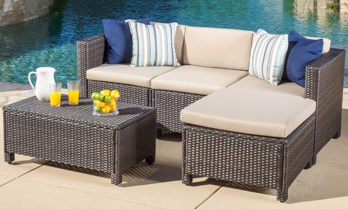 Outdoor sectional set 5 piece groupon goods for Sectional sofa set deals