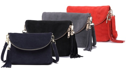Ladies Nubuck Suede Leather Crossover Handbags from £19.99 With Free Delivery (78% Off)