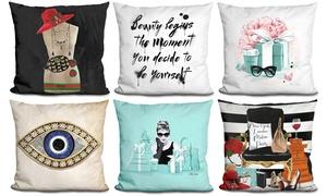 Fashion-Inspired Print Decorative Pillow