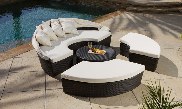 Bellagio 4 Piece Cabana Outdoor Sectional Set ...