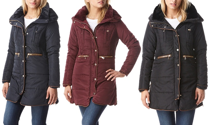 Women's Sherpa-Lined Puffer Jacket with Double Closure and High Collar