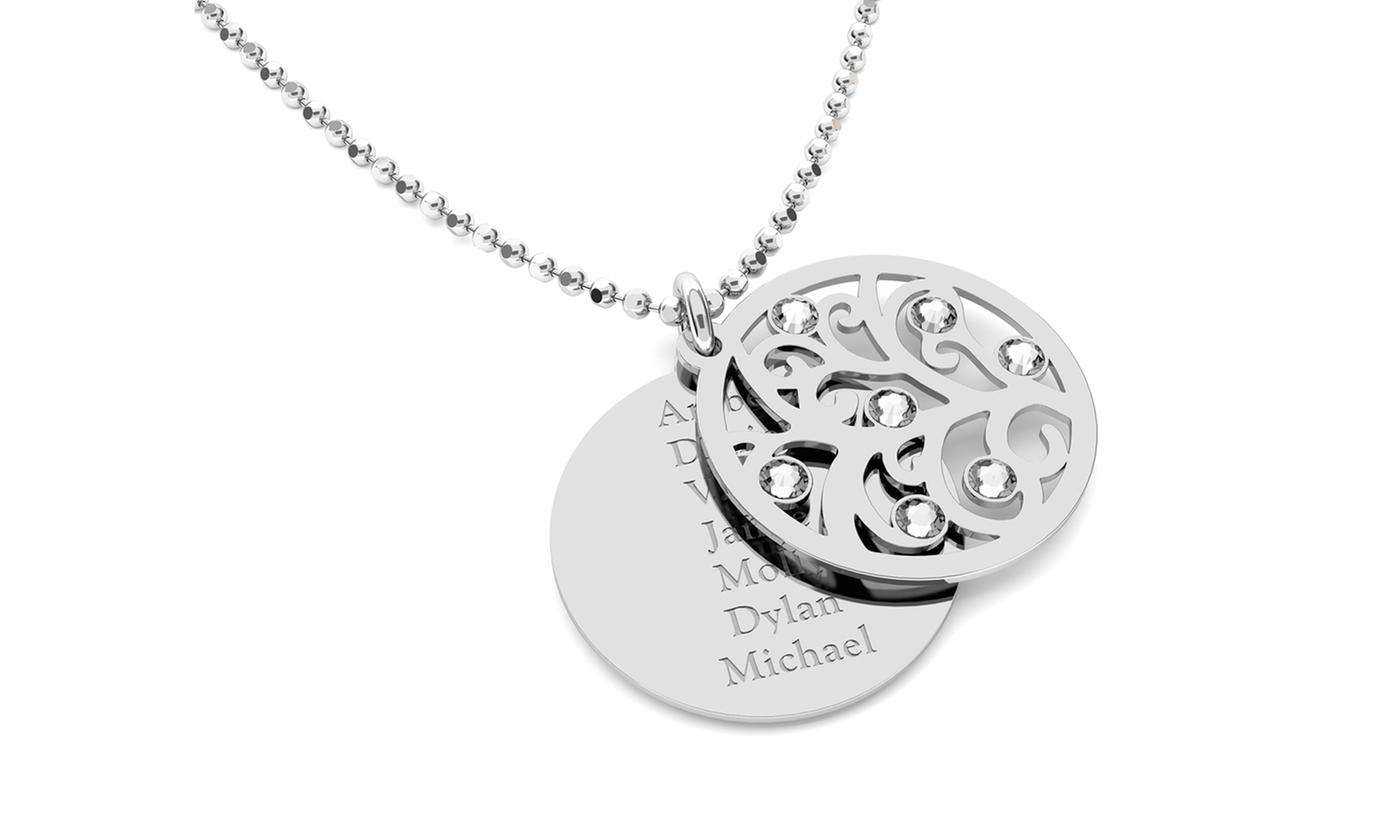 personalized round plate bar necklaces