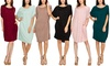 Made by Johnny Women's Scoop-Neck Short-Sleeve Pocket Loose-Fit Dress