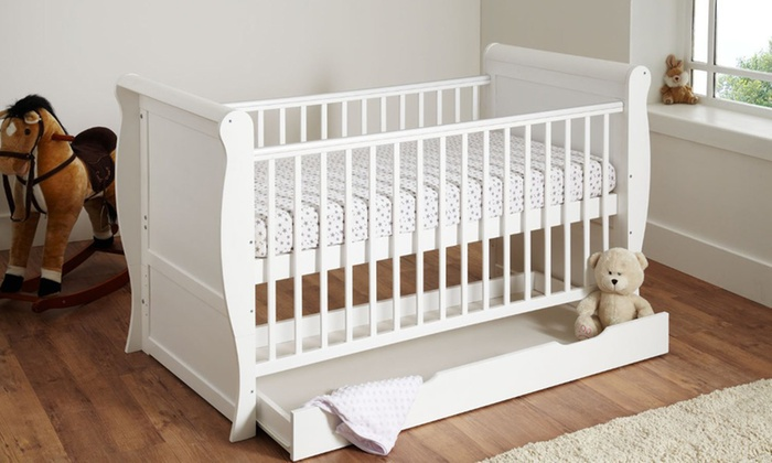 Groupon Goods Global GmbH: Precious Little One Sleigh Cot with Optional Mattress With Free Delivery
