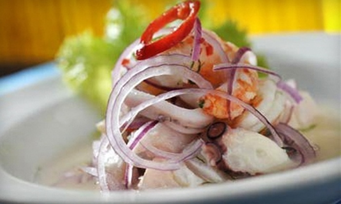 Pisco Sour Restaurant & Lounge - East Colfax: Peruvian Meal for Two with Entrees and Drinks or $12 for $25 Worth of Peruvian Fare at Pisco Sour Restaurant & Lounge