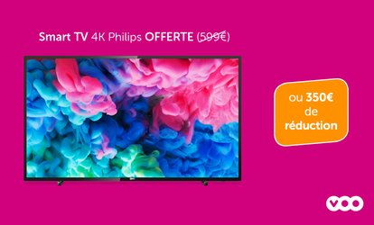 Une Smart TV 4K Philips 108 cm offerte (599 €) ou 350 € de réduction à l'achat d'un pack de VOO