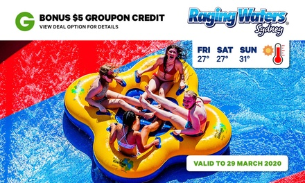 Raging Waters Sydney Groupon Credit Bundle: Day Pass + $5 Groupon Credit