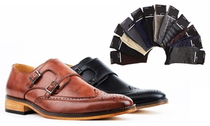 Gino Vitale Men's Monk Strap Brogue Shoes with Dress Socks