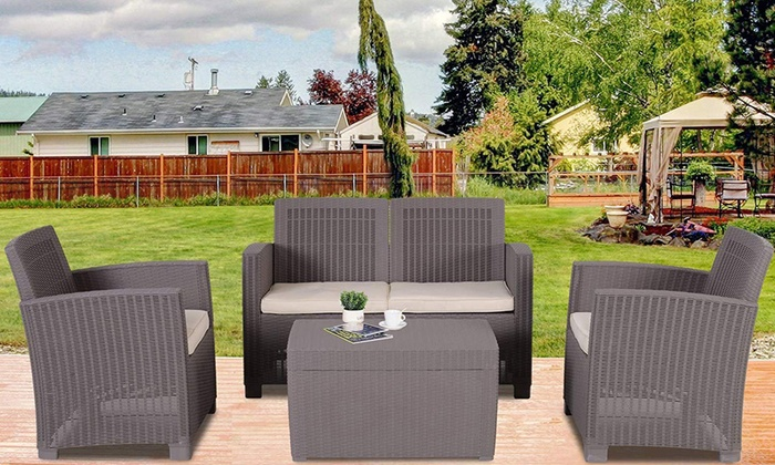 Outsunny Garden Rattan-Effect Four-Piece Set from £219