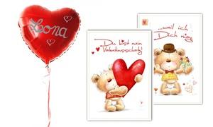 Ballon2.0 La Loggia: 1x oder 2x Helium-Herzballons mit Valentinsgrußkarte von Ballon2.0 La Loggia (bis zu 57% sparen*)