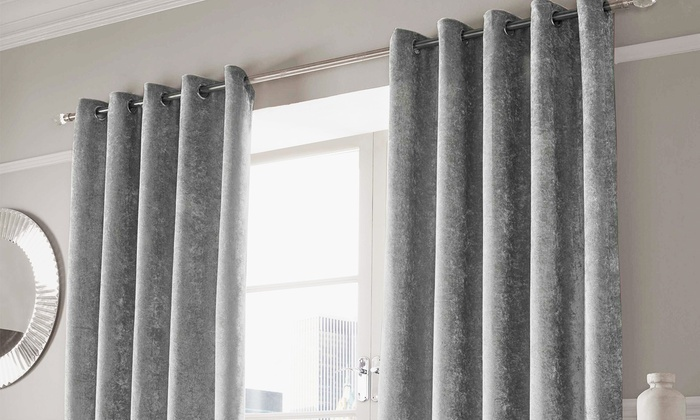 Pair of Luxor Crushed Velvet Lined Eyelet Curtains