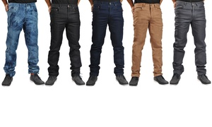 Dirty Robbers Straight Denim Chino Pants with Zipper Closure