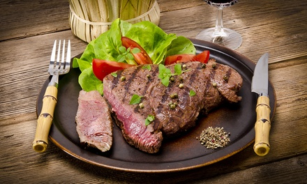Rump Steak Meal with a Glass of House Wine for Two at The Hayloft