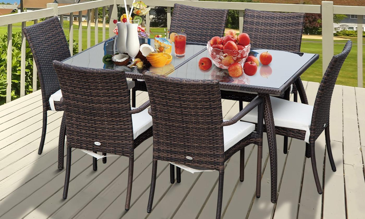 Outsunny Seven-Piece Rattan-Effect Dining Set (£313)