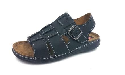 Black Leather Mens Sandals
