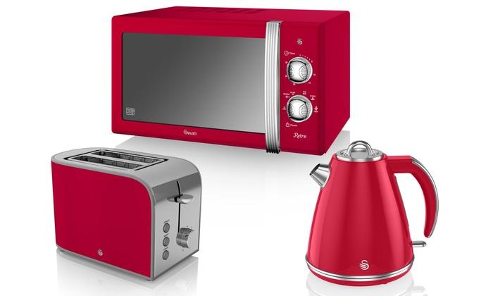 Swan Retro Red Kitchen Set