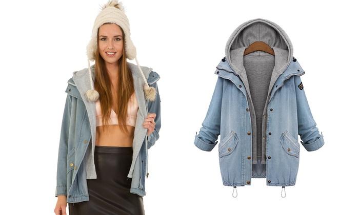 Denim-Jacke mit Kapuze für Damen   Groupon d309ef3a02