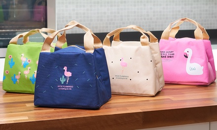 One, Two or Four Portable Flamingo Thermal Insulated Lunch Bags