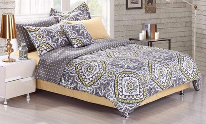Hotel New York Monica Queen Comforter Set Gray//Yellow