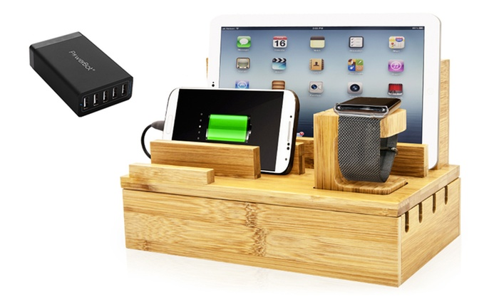 Powerbot Bamboo Multi Charging Station And Charger Groupon