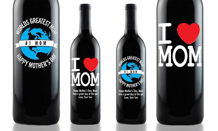"Etching Expressions: Wine Bottle Etched with ""I Heart Mom,"" ""World's Greatest Mom,"" or Photo from Etching Expressions (60% Off)"