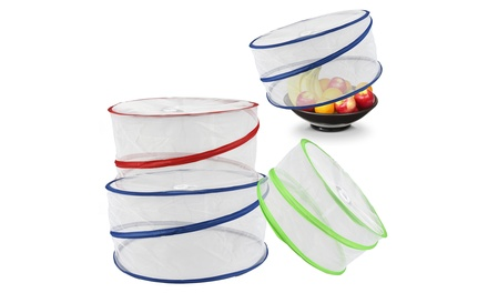 One or Two Sets of Three Collapsible Pop-Up Food Covers