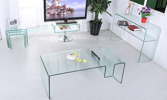65 Off Odeon Glass Living Room Furniture Groupon
