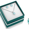3 CTW Sterling Silver Created Aquamarine Necklace and Earring Set