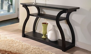 Zayna Curved Panel Multi-Shelf Black Entryway Table