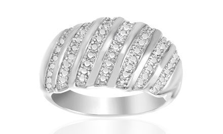 Diamond Accent Ring in 18K White Gold Plating