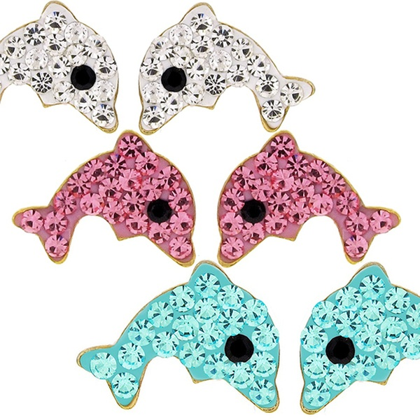 3e2dc769 Kids' Dolphin Stud Earrings with Crystals in 14K Gold
