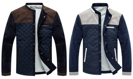 Mens Colour Block Quilted Jacket