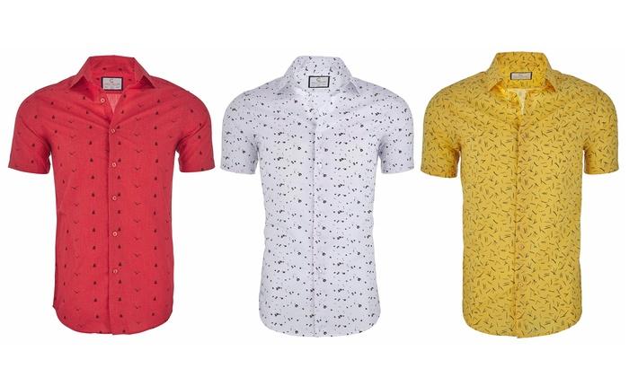 fa0f4ebc7 Suslo Couture Men's Nautical Slim-Fit Short Sleeve Button Down (S-3XL)