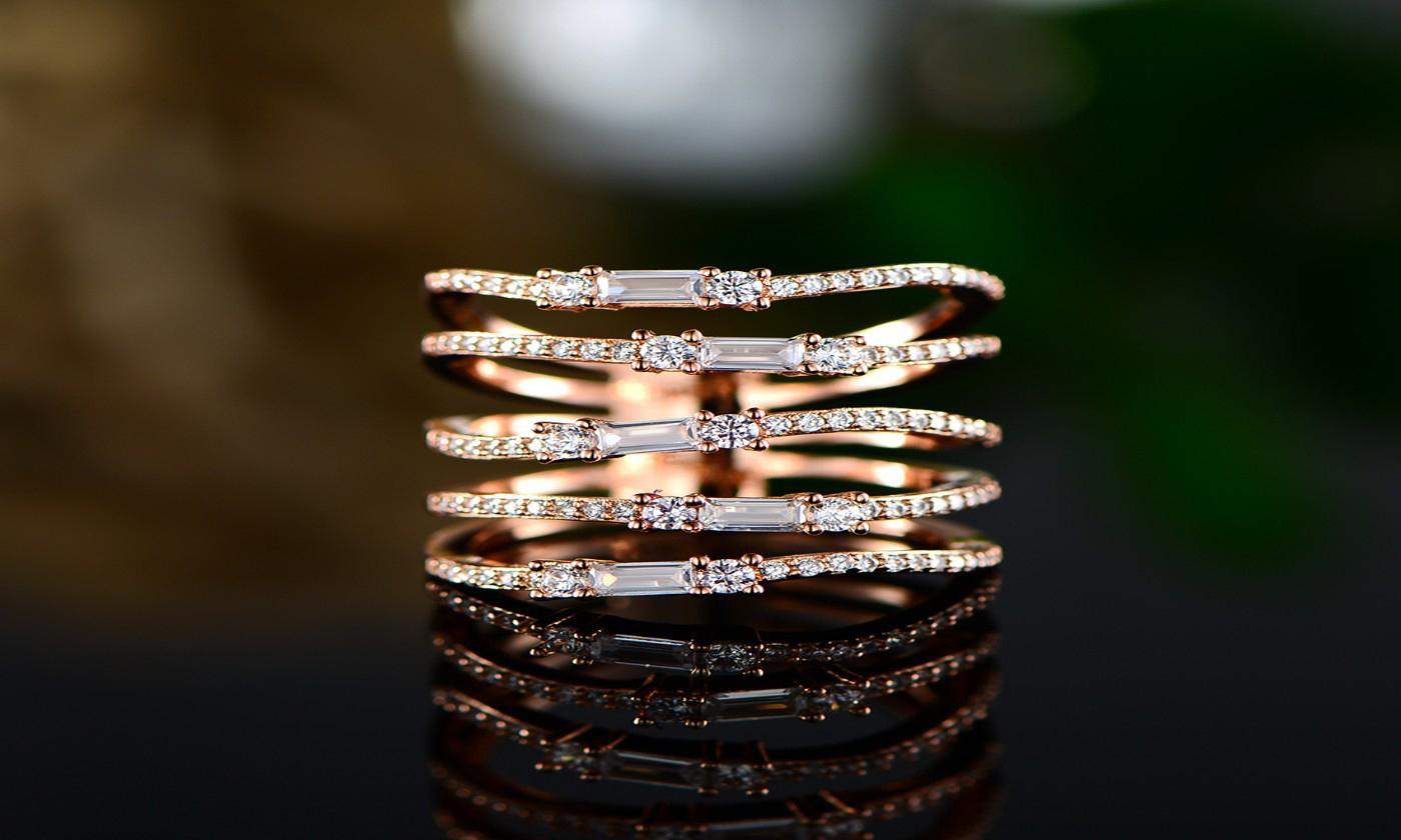Multi Row Rose Gold Plated Ring Made with Swarovski Elements
