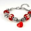 Murano Glass Heart Charm Bracelet Made with Swarovski Elements