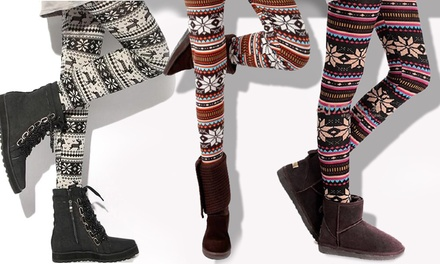Nordic Print Fleece Lined Leggings