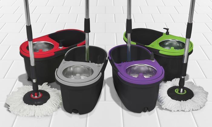 Groupon Goods Global GmbH: Vadrouille noire avec sceau double à pédale, essoreuse et 2 ou 5 têtes de rechange