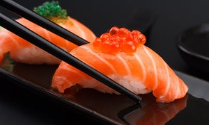 Umi Sushi Express: $17.80 for Sushi Train Lunch - Choice of Four Plates, Gyoza and Dessert at Umi Sushi Express (Up to $39.70 Value)