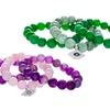 3-Piece Glass-Bead Bracelet Set with Evil-Eye Charm
