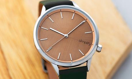Reloj Simplify The 6700 con correa de cuero sintético