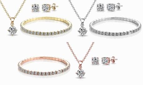 1, 2 o 3 sets de joyería Philip Jones compuestos por una pulsera, colgante y pendientes con cristales de Swarovski®