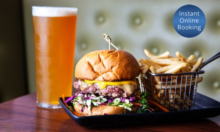 Burger and Fries + Glass Wine or Beer $17, 2 $34 or 4 People $68 at Hop and Pickle Up to $120 Value