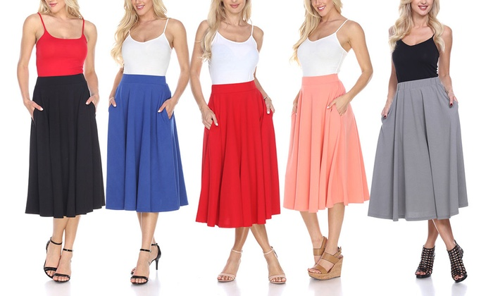 new lower prices authorized site 100% quality Up To 55% Off on White Mark Flared Midi Skirt | Groupon Goods