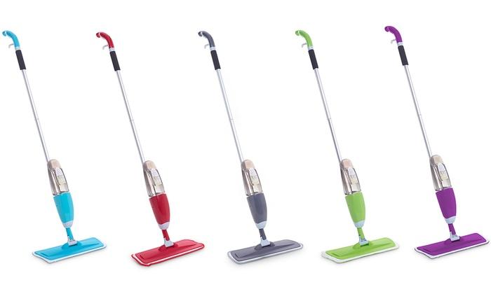 spray mop with microfibre pads groupon