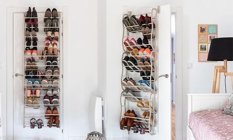 Scarpiera salvaspazio dietro porta o da fissaggio a parete per 36 paia di scarpe