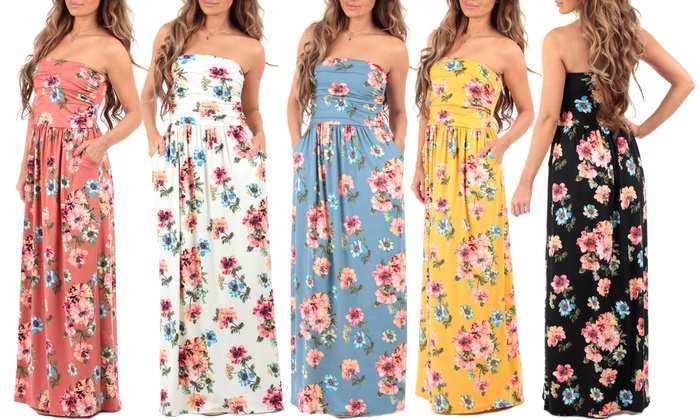 d8d5ec59ac8 Women s Strapless Floral Maxi Dress with Pockets