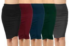 Women's Knee-Length Pencil Skirt (3-Pack). Plus Sizes Available.