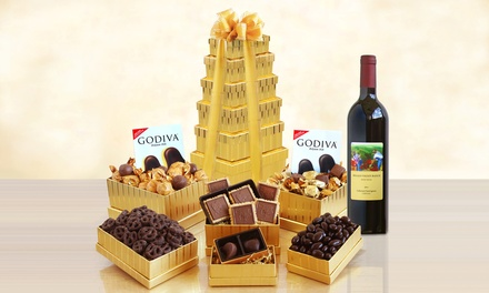 Golden Godiva Chocolate & Wine Gift Tower (6-Piece). Shipping Included.
