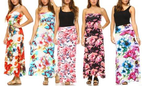 Isaac Liev Floral-Print Convertible Maxi Dress