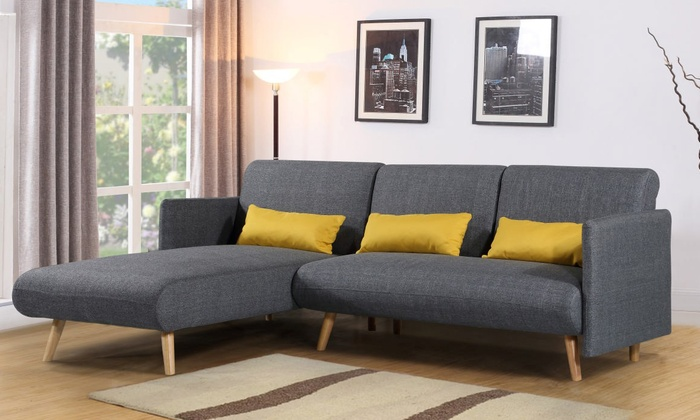 Groupon Goods Global Gmbh Los Angeles Three Seater Corner Sofa Bed With Free Delivery